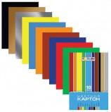 Картон цветной А4 МЕЛОВАННЫЙ, 10 листов 10 цветов, в папке, HATBER, 195х280 мм, 'Creative', 10Кц4 05809, N049600