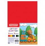 Картон цветной А4 немелованный, 8 листов 8 цветов, в пакете, ПИФАГОР, 200х283 мм, 127050