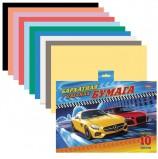 Цветная бумага, А5, бархатная, 10 цветов, HATBER 'Машинки', 165х220 мм, 10Ббх5 14314, N200513