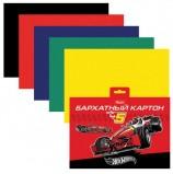 Цветной картон, А5, бархатный, 5 цветов, HATBER 'Машина' ('Hot wheels'), 165х220 мм, 5Кбх5 13310, N200537