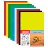 Картон цветной А4 немелованный, 16 листов 8 цветов, в пакете, ПИФАГОР, 200х283 мм, 128010
