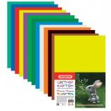 Картон цветной А4 немелованный, 12 листов 12 цветов, в пакете, ПИФАГОР, 200х283 мм, 128011