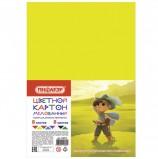Картон цветной А4 МЕЛОВАННЫЙ, 8 листов 8 цветов, в пакете, ПИФАГОР, 200х283 мм, 'Мушкетер', 128014