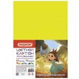 Картон цветной А4 МЕЛОВАННЫЙ, 10 листов 10 цветов, в пакете, ПИФАГОР, 200х290 мм, 'Лесная фея', 128015