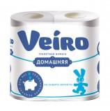 Бумага туалетная бытовая, спайка 4 шт., 2-х слойная (4х15 м), VEIRO 'Домашняя', белая, 1с24