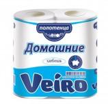 Полотенца бумажные бытовые, спайка 2 шт., 2-х слойные (2х12,5 м), VEIRO 'Домашние', белые, 3п22