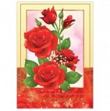 Бланк 'Поздравительный', А4 (в развороте 420х297 мм), мелованный картон, фольга, BRAUBERG, 'Розы', 128368