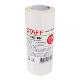 Этикет-лента 21х12 мм, прямоугольная, белая, КОМПЛЕКТ 5 рулонов по 600 шт., STAFF, 128446
