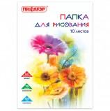 Папка для рисования, А4, 10 л., 120 г/м2, ПИФАГОР, 210х297 мм, 'Цветы', 129220