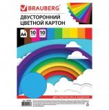 Картон цветной А4 ТОНИРОВАННЫЙ В МАССЕ, 10 листов 10 цветов, в пакете, 180 г/м2, BRAUBERG, 210х297 мм, 129308