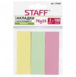 Закладки клейкие бумажные STAFF, 76х25 мм, 3 цвета х 100 листов, 129360