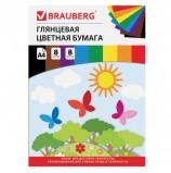 Цветная бумага А4 мелованная, 8 листов 8 цветов, на скобе, BRAUBERG, 200х280 мм, 'Бабочки', 129547