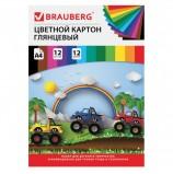 Картон цветной А4 мелованный, 12 листов 12 цветов, в папке, BRAUBERG, 200х290 мм, 'Гонки', 129916