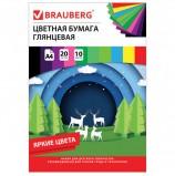 Цветная бумага А4 мелованная, 20 листов 10 цветов, в папке, BRAUBERG, 210х297мм, 'Моя страна', 129928