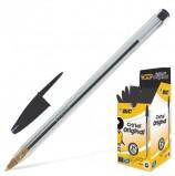 Ручка шариковая BIC 'Cristal', ЧЕРНАЯ, корпус прозрачный, узел 1 мм, линия письма 0,32 мм, 847897