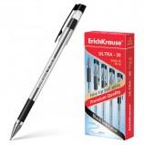 Ручка шариковая масляная с грипом ERICH KRAUSE 'Ultra-30', ЧЕРНАЯ, корпус прозрачный, узел 0,7 мм, линия письма 0,26 мм, 19614