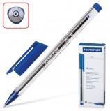 Ручка шариковая STAEDTLER 'Ball', СИНЯЯ, трехгранная, корпус прозрачный, узел 1 мм, линия письма 0,5 мм, 432 M-3