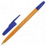 Ручка шариковая BRAUBERG 'Carina Orange', СИНЯЯ, корпус оранжевый, узел 1 мм, линия письма 0,35 мм, BP214