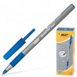 Ручка шариковая с грипом BIC 'Round Stic Exact', СИНЯЯ, корпус серый, узел 0,8 мм, линия письма 0,3 мм, 918543