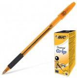 Ручка шариковая с грипом BIC 'Orange Grip', ЧЕРНАЯ, корпус оранжевый, узел 0,8 мм, линия письма 0,3 мм, 811925