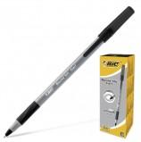 Ручка шариковая с грипом BIC 'Round Stic Exact', ЧЕРНАЯ, корпус серый, узел 0,8 мм, линия письма 0,3 мм, 918542