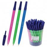 Ручка шариковая СТАММ '049', СИНЯЯ, корпус неоновый ассорти, узел 1,2 мм, линия письма 0,7 мм, РШ01