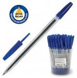 Ручка шариковая масляная СТАММ 'Оптима', СИНЯЯ, корпус прозрачный, узел 1,2 мм, линия письма 0,7 мм, РО20