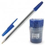 Ручка шариковая СТАММ 'Оптима', СИНЯЯ, корпус прозрачный, узел 1,2 мм, линия письма 1 мм, РО01