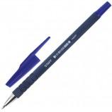 Ручка шариковая STAFF, СИНЯЯ, корпус прорезиненный синий, узел 0,7 мм, линия письма 0,35 мм, BP190