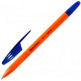 Ручка шариковая масляная BRAUBERG 'X-100', СИНЯЯ, корпус оранжевый, узел 1 мм, линия письма 0,7 мм, OBP100