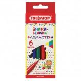 Фломастеры ПИФАГОР 'ЭНИКИ-БЕНИКИ', 6 цветов, вентилируемый колпачок, 151400
