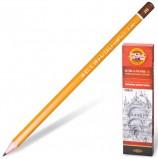 Карандаш чернографитный KOH-I-NOOR 1500, 1 шт., 2B, без резинки, корпус желтый, заточенный, 150002B01170RU
