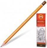 Карандаш чернографитный KOH-I-NOOR 1500, 1шт., 3B, без резинки, корпус желтый, заточенный, 150003B01170RU