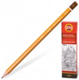 Карандаш чернографитный KOH-I-NOOR 1500, 1 шт., 4B, без резинки, корпус желтый, заточенный, 150004B01170RU
