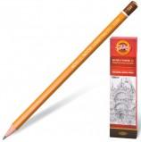 Карандаш чернографитный KOH-I-NOOR 1500, 1 шт., 5H, без резинки, корпус желтый, заточенный, 150005H01170