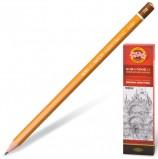 Карандаш чернографитный KOH-I-NOOR 1500, 1 шт., 6B, без резинки, корпус желтый, заточенный, 150006B01170RU