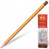 Карандаш чернографитный KOH-I-NOOR 1500, 1 шт., 7H, без резинки, корпус желтый, заточенный, 150007H01170