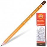Карандаш чернографитный KOH-I-NOOR 1500, 1 шт., H, без резинки, корпус желтый, заточенный, 150000H01170RU