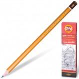 Карандаш чернографитный KOH-I-NOOR 1500, 1 шт., HB, без резинки, корпус желтый, заточенный, 15000HB01170RU