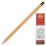 Карандаш чернографитный KOH-I-NOOR 1500, 1 шт., 7B, без резинки, корпус желтый, заточенный, 150007B01170RU