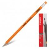 Карандаш чернографитный STABILO, 1 шт., 'Swano', HB, с резинкой, корпус неоновый оранжевый, заточенный, 4907/030HB