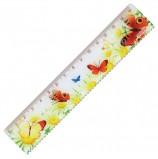 Линейка пластиковая 15 см, ПИФАГОР 'Бабочки', цветная печать, с волнистым краем, европодвес, 210635
