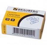 Скрепки BRAUBERG, 28 мм, никелированные, 100 шт., в картонной коробке, Россия, 221523