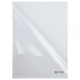 Папка-уголок жесткая BRAUBERG, прозрачная, 0,15 мм, 221641