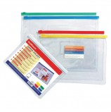 Папка-конверт на молнии МАЛОГО ФОРМАТА (238х175 мм), А5, карман для визиток, прозрачная, 0,14 мм, ERICH KRAUSE, 2937