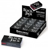 Резинка стирательная BRAUBERG 'BlackJack', в картонном держателе, 40х20х11 мм, трёхслойная, чёрная, 222466