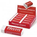 Резинка стирательная ОФИСНАЯ ПЛАНЕТА в картонном держателе, 60х20х11 мм, белая, 222468