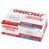 Скрепки ОФИСМАГ, 33 мм, никелированные, 100 шт., в картонной коробке, 225153