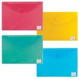 Папка-конверт с кнопкой BRAUBERG 'My CLEAR BAG', А4, до 100 листов, прозрачная, ассорти, 0,15 мм, 225174
