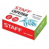 Скрепки STAFF, 27 мм, синие, 100 шт., в картонной коробке, 226247